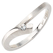 Damen Ring 950 Platin mattiert 1 Diamant Brillant 0,03ct. Platinring