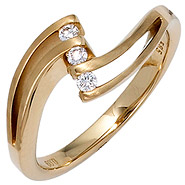 Damen Ring 585 Gold Gelbgold matt 3 Diamanten Brillanten 0,09ct. Goldring