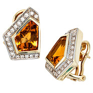 Ohrstecker eckig 585 Gold Gelbgold 34 Diamanten 2 Citrine orange Ohrringe