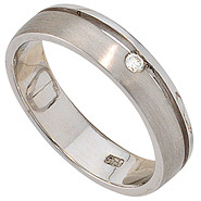 Damen Ring 925 Sterling Silber rhodiniert mattiert 1 Diamant Brillant Silberring