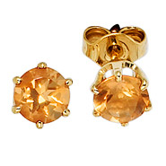 Ohrstecker rund 585 Gold Gelbgold 2 Citrine orange Ohrringe Goldohrstecker