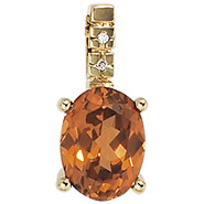 Anhänger oval 585 Gold Gelbgold 1 Mandarin-Granat orange 2 Diamanten 0,06ct.