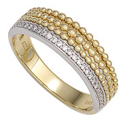Damen Ring 585 Gold Gelbgold Weißgold bicolor 17 Diamanten Brillanten Goldring