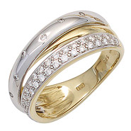 Damen Ring 585 Gold Gelbgold Weißgold bicolor 41 Diamanten Brillanten Goldring