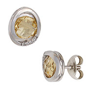 Ohrstecker oval 585 Gold Weißgold 2 Citrine gelb 8 Diamanten Brillanten Ohrringe