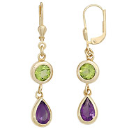 Boutons 585 Gold Gelbgold 2 Amethyste lila 2 Peridote grün Ohrringe Ohrhänger