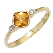 Damen Ring 333 Gold Gelbgold 1 Citrin orange 2 Diamanten 0,02ct. Goldring