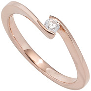 Damen Ring 585 Gold Rotgold 1 Diamant Brillant 0,10ct. Diamantring Goldring