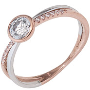 Damen Ring 333 Gold Rotgold Weißgold bicolor mit Zirkonia Goldring