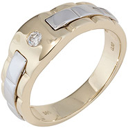 Herren Ring 585 Gold Gelbgold Weißgold bicolor 1 Diamant Brillant Herrenring