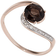 Damen Ring 585 Rotgold bicolor 1 Rauchquarz braun 3 Diamanten Brillanten