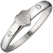 Kinder Ring Herz 925 Sterling Silber mattiert 2 Zirkonia Kinderring