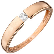 Damen Ring 585 Gold Rotgold 1 Diamant Brillant 0,08ct. Rotgoldring Diamantring