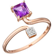 Damen Ring 585 Rotgold bicolor 4 Diamanten Brillanten 1 Amethyst lila violett