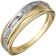 Damen Ring 333 Gold Gelbgold bicolor matt mattiert mit Zirkonia Goldring