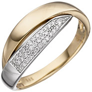 Damen Ring 585 Gold Gelbgold Weißgold bicolor 35 Diamanten Brillanten Goldring