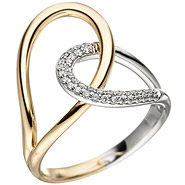 Damen Ring 585 Gold Gelbgold Weißgold bicolor 36 Diamanten Brillanten Goldring