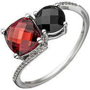 Damen Ring 585 Gold Weißgold 24 Diamanten Brillanten 1 Granat rot 1 Onyx