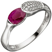 Damen Ring 585 Gold Weißgold 39 Diamanten Brillanten 1 Rubin rot Rubinring