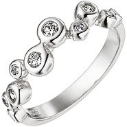 Damen Ring 925 Sterling Silber 10 Zirkonia Silberring
