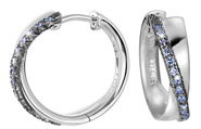Creolen 925 Silber Brilliance COUPLE BLUE Zirkonia