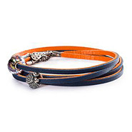 Armband 925 Silber orange/navy 45 cm