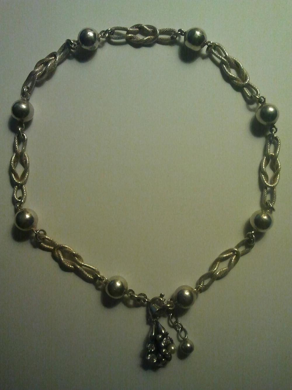 Antike Halskette 835 Anhänger 925 Diamanten Pe